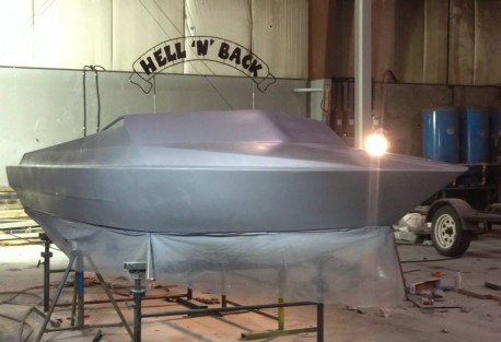 repaired jet boat with primer
