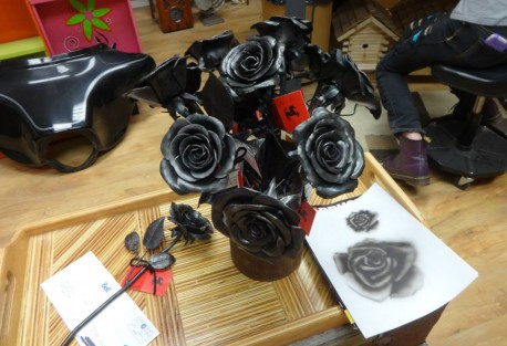 steel roses at the gallery