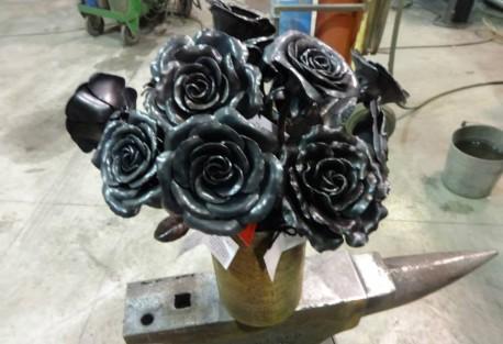 a dozen steel roses